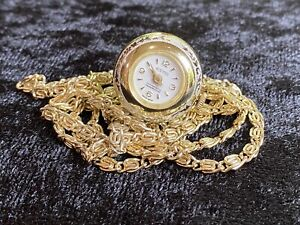 Vintage Swiss Made Watch Pendant Necklace Exmo Antimagnetic/Shock On Gold Chain