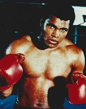 MUHAMMAD ALI 8X10 PHOTO BOXING COLOR CLOSE UP WITH GLOVES SWEATY