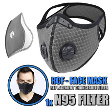 Mens Face Shield Side Air Vents Face Cover One Filter 1-3 Day S&H 2020 Grey