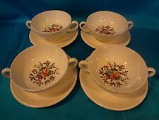Wedgwood - Conway - Set of  4 Cream Soups w/Saucers - Edme Shape w/Floral Center