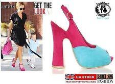 Ladies Suede Contrast Colour High Heel Shoes SIZE 4-8 Court Wedges Fancy Party