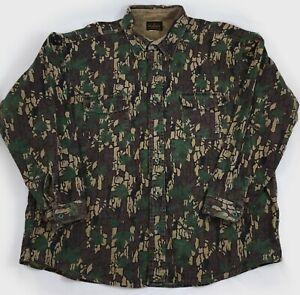 Vtg Deerskin Camouflage Long Sleeve Shirt 2XL Melton Shirt Co Trebark Camo USA