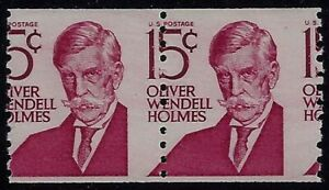 "1305E - 15c Misperf Error / EFO Pair ""Oliver Wendell Holmes"" Mint NH (STK16)"