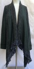 Anthropologie Saturday Sunday Fringed Open  Cardigan Dark Teal Black Size XS