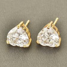 No Allergy 9K Solid Gold Filled Cubic Zirconia Heart Stud Earrings,9mm,Z3555