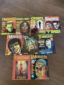 9 Vintage Monster Horror Magazines Famous Monsters 3D Monsters Creepy FrazettaVG