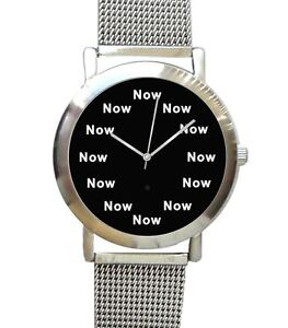 """""""NOW"""" Is The Time On The Unisex Size Watch With Black Dial & S.S. Mesh Band"""