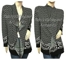 SIONI Black White NEW Handcrafted Long Sleeve Women's Cardigan, Size Large, NEW