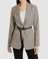 $852 Elie Tahari Womens Black One-Button Check Bree Belted Blazer Jacket Size 10
