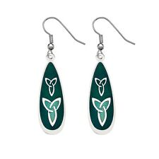 Silver Plated and Enamel Celtic Trinity Knot Green Ear Wire Earrings (3239)