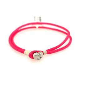 "New Authentic Hot Pink PANDORA Fabric CORD Bracelet 7.3"""