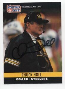 Chuck Noll - NFL Football Hall of Fame - Autographed 1990 Pro Set Card