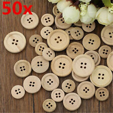 50 Pcs 4-Holes Mixed Wooden Buttons Natural Color Round Sewing Scrapbooking DIY