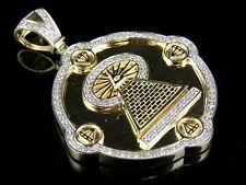"10K Yellow Gold Real Diamond Illuminati All Seeing Eye Pendant 7/10 Ct 1.75"""