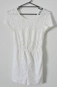 Kookai Playsuit Size 34 White Lace Short Sleeve Romper