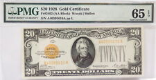1928 $20 GOLD CERTIFICATE  (PMG,  65 GEM UNCIRCULATED, EPQ)