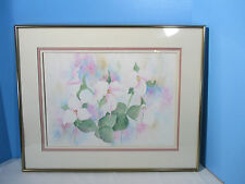 Watercolor Painting Picture Flowers Pinks Chrome Frame Glass Signed M Anderson