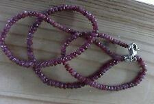 Rubinkette facettiert - 925 Silber Karabiner - Rubin  - Ruby - Kette