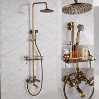 """Antik Messing Bad 8 """"Regen Badewanne Dusche Wasserhahn Set Regal Halter Hand Neu"""