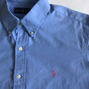 Men's Ralph Lauren Polo long Sleeve Button Down Shirt sky blue with pink pony L