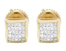 Mens Ladies 14K Yellow Gold Real Princess Diamond Square Stud Earrings .33ct 5MM