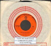 Ellison, Lorraine - I Got My Baby Back Vinyl 45 rpm record Free Ship