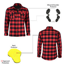 Black Red Motorcycle Shirt Lumberjack Reinforced Protective CE Armoured Shirt