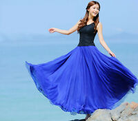 Hot Women Elegant Chiffon Elastic Waist Band Pleated Beach Long Maxi Skirt Dress