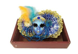 3x Maschere Decorative In Porcellana Veneziane