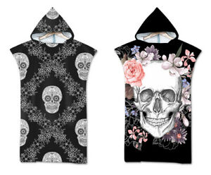 Novelty Gift Gothic Cool Skull Flower Adult Bath Swim Beach Hooded Poncho Towel