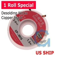 1PC CP2015 2.0mm 1.5M Desoldering Braid Solder Remover  Wick Wire Repair Tool