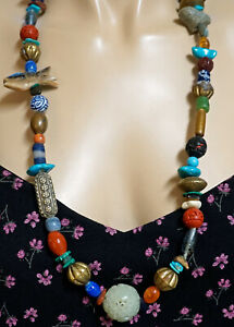 Handmade Necklace Many Types of Beads Carved Jade Turquoise Cinnabar Stone More!