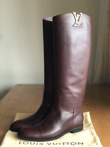 Authentic Louis Vuitton Heritage Burgundy Leather Logo Riding Boots EU 38 US 8