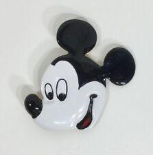 DISNEY Mickey Mouse Head Pin Brooch White Black Red Enamel