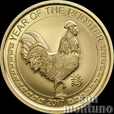 2017 Mongolia - YEAR OF THE ROOSTER - 1000 Togrog 1/2 gram PURE GOLD COIN .9999