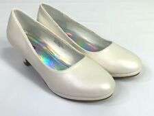 Josmo Girls Plain Dress Shoes Low Heel Size 4 Beige Pearl Style 19806 NWOB