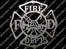 Fire Department Metal Wall Art Sign Firefighter Mancave Christmas Gift Idea