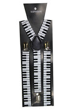 Black Adjustable Braces Suspenders Piano Musical Fancy Dress Clip On Slim 2.5cm