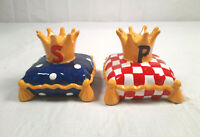 Vintage Mary Engelbreit Royal Salt & Pepper Shakers Crown on Pillow Enesco 1999