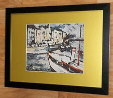 Framed 12''x16'', Maurice Vlaminck, Landscape with Tugboat, masters paintings
