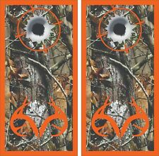 Camo Target Bullet Hole Cornhole Board Skin Wrap Decal Set bag toss -LAMINATED