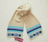 Womens Ladies Cotton Long Scarf With Crouchet Flowers (3421)