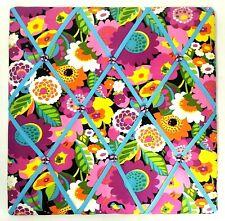 VERA BRADLEY Floral Memo Board VaVa Bloom Ribbon Pink Blue Fabric Photo Bulletin