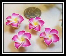 Plumeria Flower Polymer Clay Cabochon or Bead - Set of 4 Bright Fushia Magenta