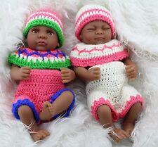 "Hot 10"" African American Baby Doll Boy Girl twins Lifelike Reborn Baby Doll gift"