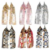 Checked/Striped Cat Breed Chiffon Satin Ladies Scarf