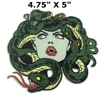 EMBROIDERED Iron Sew On Patches appliques transfers Badges Medusa Snake Large