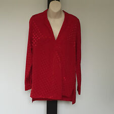 'BLUE ILLUSION' BNWT SIZE 'XS' RED WRAP FRONT LONG SLEEVE HI-LO HEM TOP