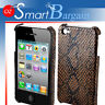 Coffee Snakeskin Design Cover Case For iPhone 4G 4GS + Screen Protector