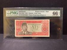 "1964 Indonesia,1 Rupiah P-80a* ""Replacement/Star"" PMG 66 EPQ POP Highest !"